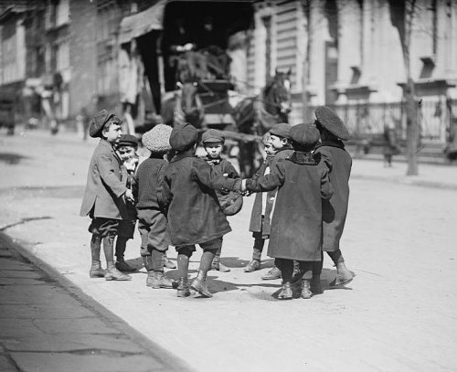 Young boys playing in a New York street, 1909. Source: Bain News Service.